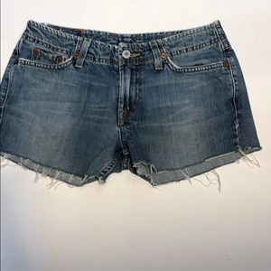 Lucky Brand Raw Hem Jean Shorts Distressed Size 26